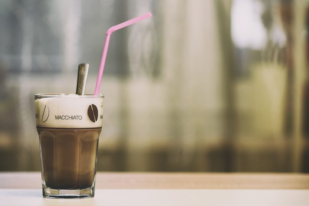 macchiato, one of the types of coffee drinks you can get at your local coffee shop