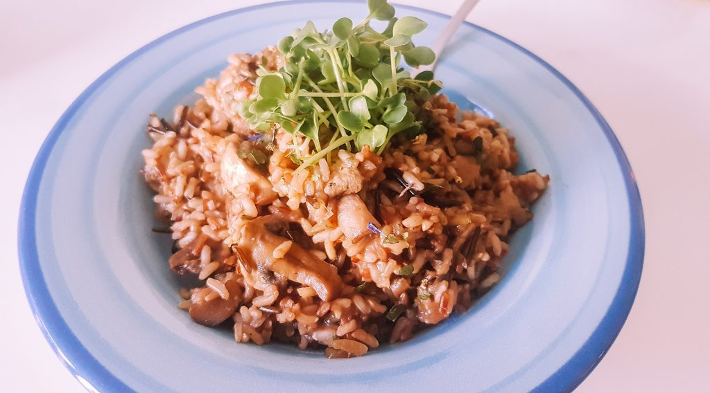 mushroom risotto (one of our 5 one pot recipes)
